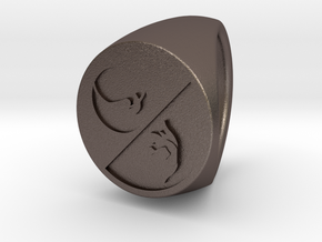 Custom signet ring 93 in Polished Bronzed-Silver Steel