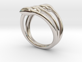 Crossed seeds ring in Rhodium Plated Brass