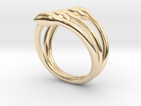Crossed seeds ring in 14k Gold Plated Brass