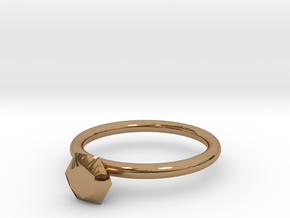 diamond ring in Polished Brass
