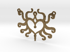 :Heart Tentacle: Pendant in Raw Bronze