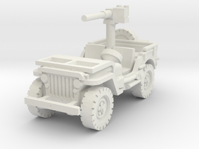 Jeep Willys 50 cal (window down) 1/76 in White Natural Versatile Plastic