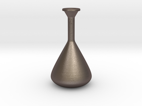 Long Neck Vase in Polished Bronzed-Silver Steel: Large