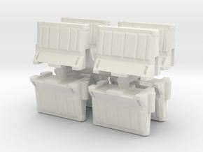 Interlocking traffic barrier (x8) 1/76 in White Natural Versatile Plastic