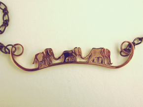 Elephant Line Pendant in Polished Bronze
