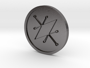 Seal of Saturn Coin in Polished Nickel Steel