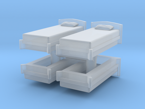 Single Bed (x4) 1/87 in Smooth Fine Detail Plastic