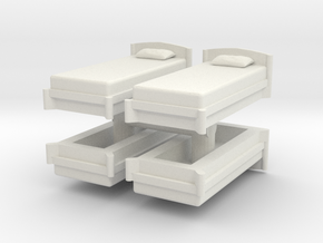 Single Bed (x4) 1/76 in White Natural Versatile Plastic