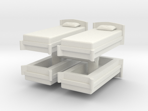 Single Bed (x4) 1/72 in White Natural Versatile Plastic
