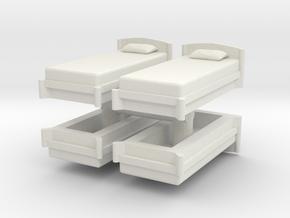 Single Bed (x4) 1/48 in White Natural Versatile Plastic