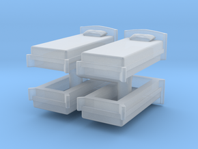 Single Bed (x4) 1/220 in Smooth Fine Detail Plastic
