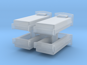 Single Bed (x4) 1/285 in Smooth Fine Detail Plastic