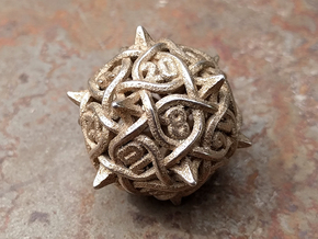 Thorn d20 V2 in Polished Bronzed-Silver Steel