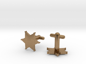 Sheriff's Star Cufflinks (2) Silver,Brass,or Gold in Raw Brass
