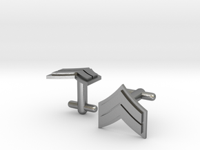 Corporal Cufflinks - Silver, Brass, Gold in Natural Silver