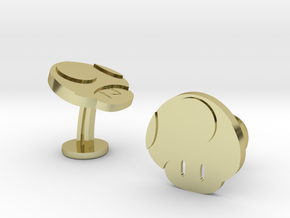 Super Mario Mushroom Cufflinks in 18k Gold Plated Brass