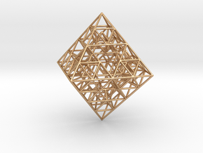 Sierpinski Octahedral Prism 6 cm. in Polished Bronze