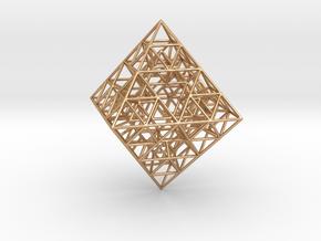 Sierpinski Octahedral Prism 6 cm. in Polished Bronze