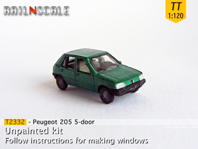 Peugeot 205 5-Türer (TT 1:120) in Smooth Fine Detail Plastic