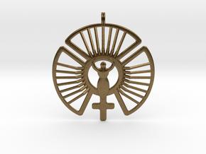 SOLAR FEMININE Venus Jewelry Symbol Necklace. in Natural Bronze