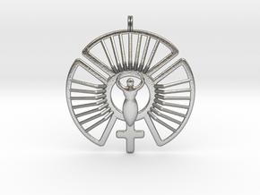 SOLAR FEMININE Venus Jewelry Symbol Necklace. in Natural Silver