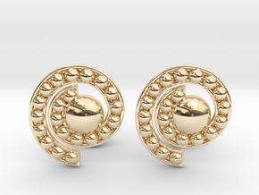 Nature Spiral Cufflinks in 14K Yellow Gold