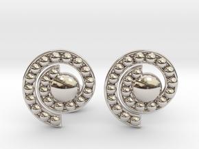 Nature Spiral Cufflinks in Rhodium Plated Brass