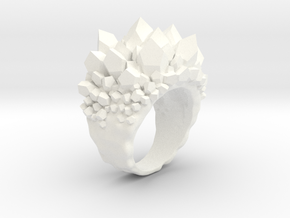 Double Crystal Ring Size 8 in White Processed Versatile Plastic