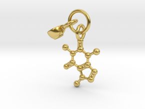 Cup Caffeine Charm Pendant - Science Jewelry in Polished Brass (Interlocking Parts)