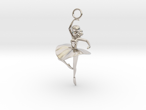 Cute Cosplay Charm - Dancer  in Rhodium Plated Brass