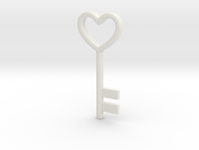 Cute Cosplay Charm - Heart Key in White Natural Versatile Plastic