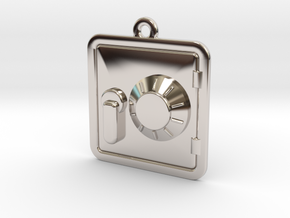 Engraveable Pendant of a Dial Safe  ~~Type-1 in Rhodium Plated Brass