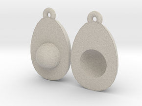 Avocado Earring Two in Natural Sandstone