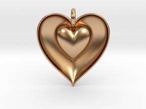 Half Heart Pendant in Polished Bronze