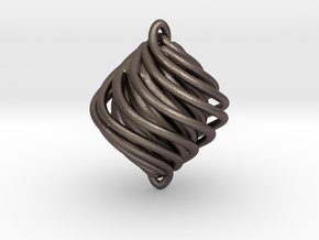 Twist Pendant in Polished Bronzed Silver Steel