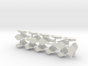 1/48th Blocks Pulleys double and triple in White Natural Versatile Plastic