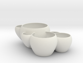 Cluster of Planters in White Natural Versatile Plastic