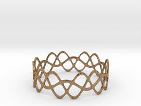 Braided Wave Bracelet (67mm) in Natural Brass