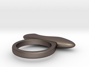 RING PEBBLE V4 indent in Polished Bronzed-Silver Steel