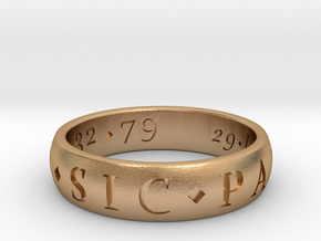 Sir Francis Drake Sic Parvis Magna Ring, Size US12 in Natural Bronze
