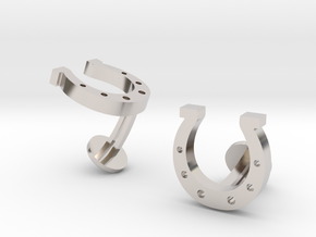 Horse Shoe Cufflinks in Rhodium Plated Brass