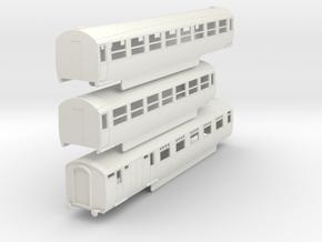 0-87-lner-silver-jubilee-E-F-G-triplet-coach in White Natural Versatile Plastic