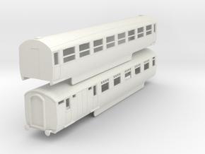0-87-lner-silver-jubilee-E-F-twin-coach in White Natural Versatile Plastic