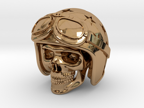 Easy Rider Skull (50mm H) in Polished Brass