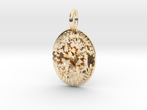 CRYSTAL NUGGET COIN PENDANT  in 14k Gold Plated Brass