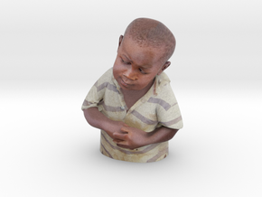 Skeptical African Child Bust in Full Color Sandstone