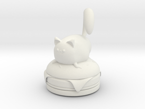 Cat on a Burger in White Natural Versatile Plastic