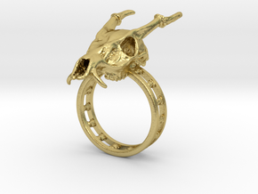 Muntjac Ring (Size 10.5) in Natural Brass