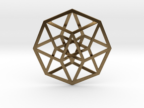 4D Hypercube (Tesseract) in Natural Bronze