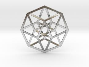 4D Hypercube (Tesseract) in Natural Silver